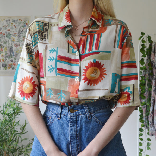 Abstract floral shirt