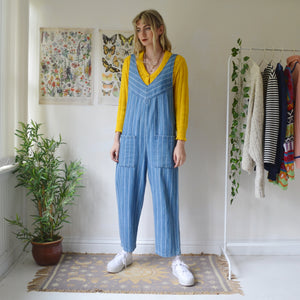 Stripe dungaree jumpsuit
