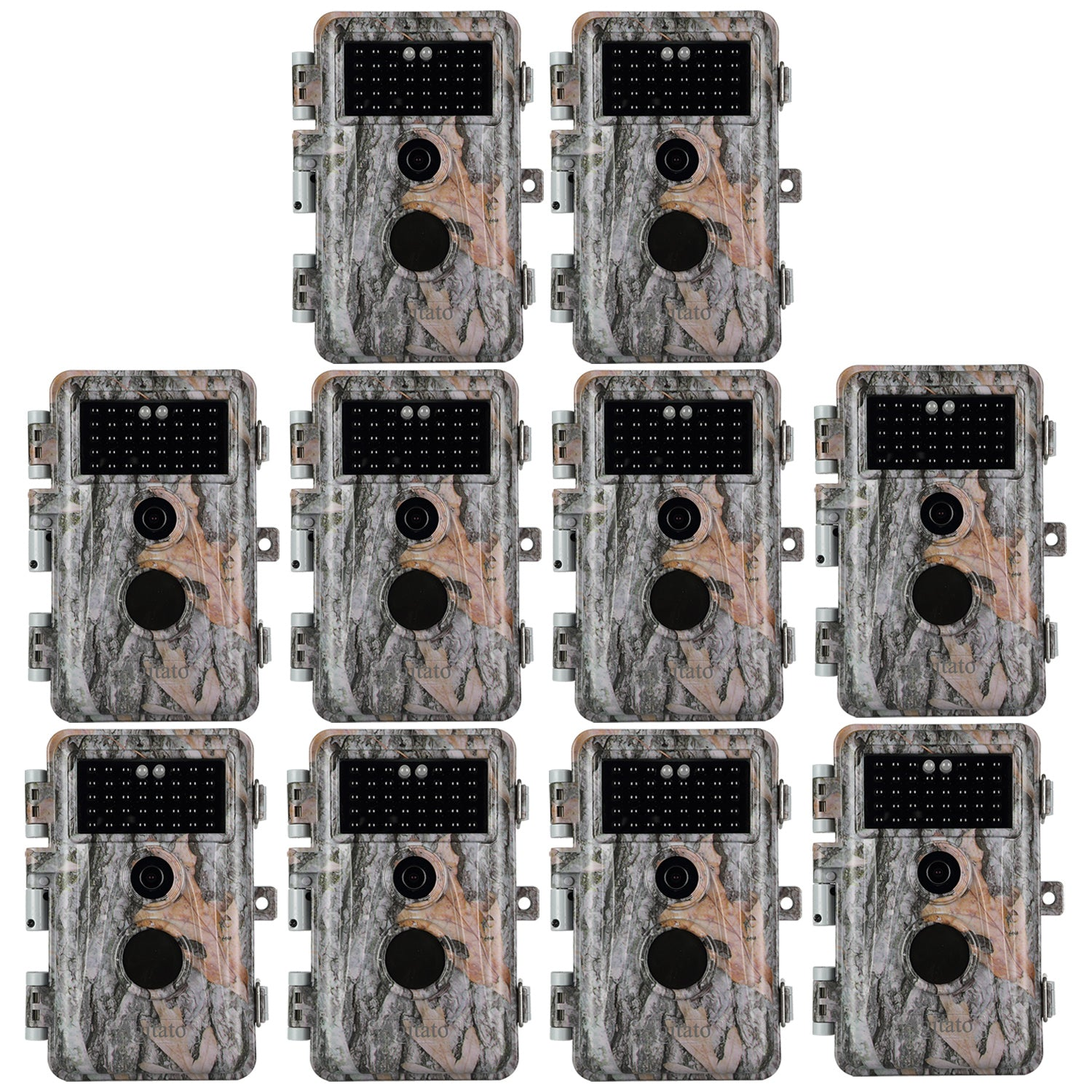 [2019 Upgraded]10-Pack Wildlife Trail Cameras 16MP Photo 1080P Video with Night Vision No Flash 940nm IR Motion Activated Time Lapse and Time Stamp