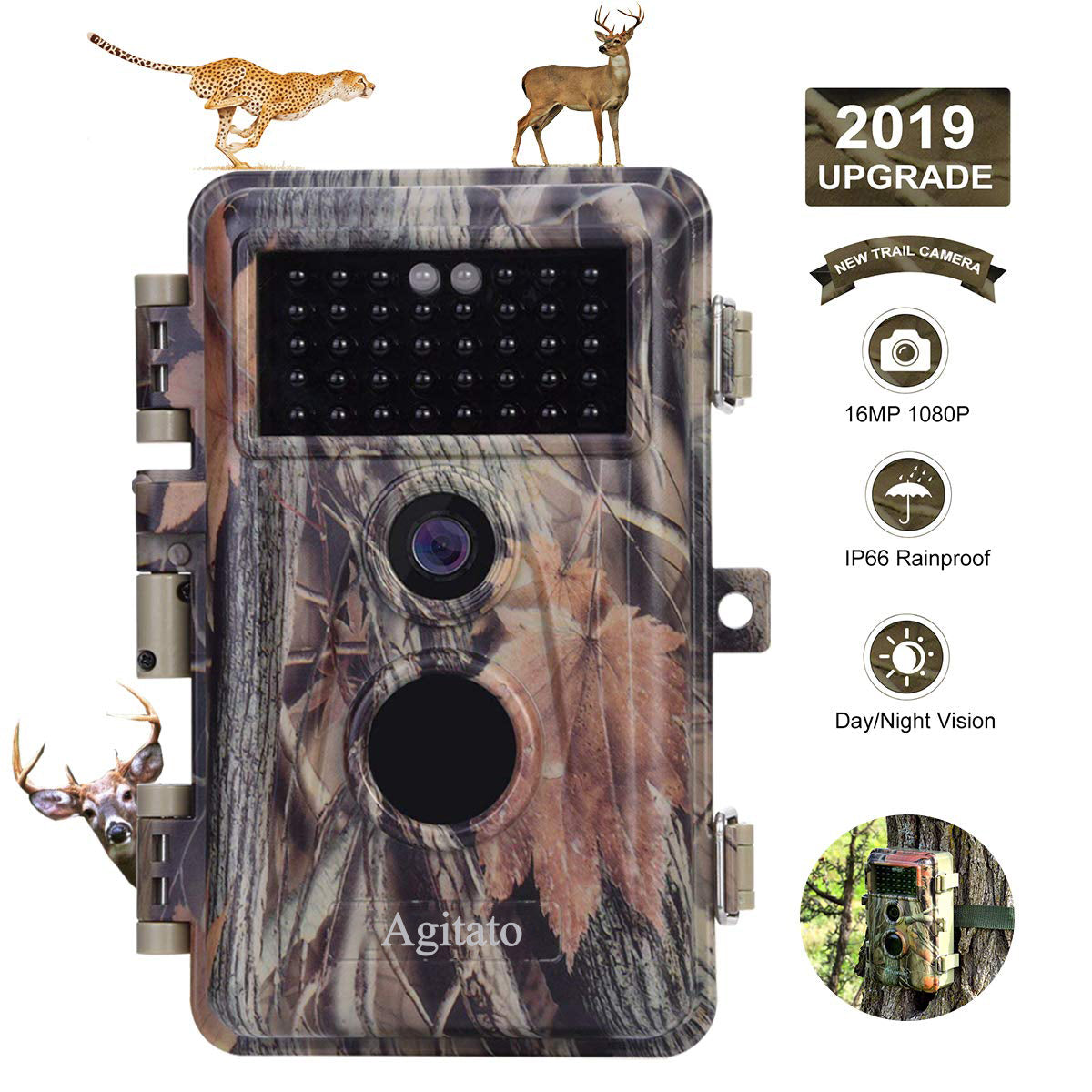 5-Pack Night Vision Game Trail Deer Cams No Flash 16MP 1080P Waterproof & Password Protected Stand By Time Up to 6 Months, Time Lapse & Time Stamp