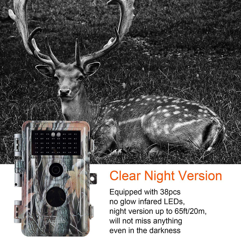 "2-Pack Game Trail Deer Cameras 16MP 1080P with Night Vision Motion Activated Waterproof IP66 0.6S Trigger No Glow Infrared 2.4"" LCD"