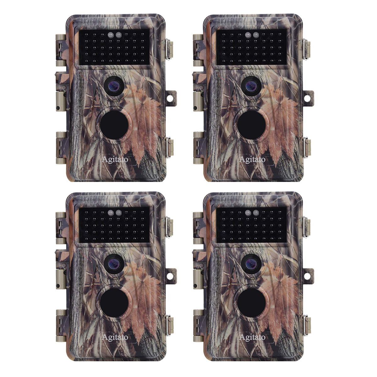 4-Pack 16MP 1080P Hunting Trail Wildlife Deer Cams No Glow Infrared 0.6S Trigger Motion Activated IP66 Waterproof Multi-shot Photo and Video Mode