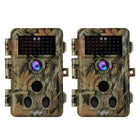2-Pack 2-PIR 120° Sensor Deer Trail Game Cameras 16MP 1080P with Night Vision Motion Activated Waterproof IP66 No Glow Infrared 0.2S Trigger 2.4