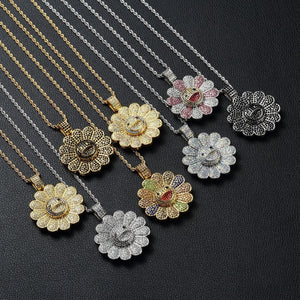 TAKASHI MURAKAMI Iced Out Sunflower Pendant Necklace Rotatable