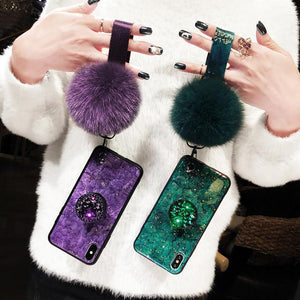 2019 NEW Fashion Hair Ball Crystal Airbag Bracket iPhone Case