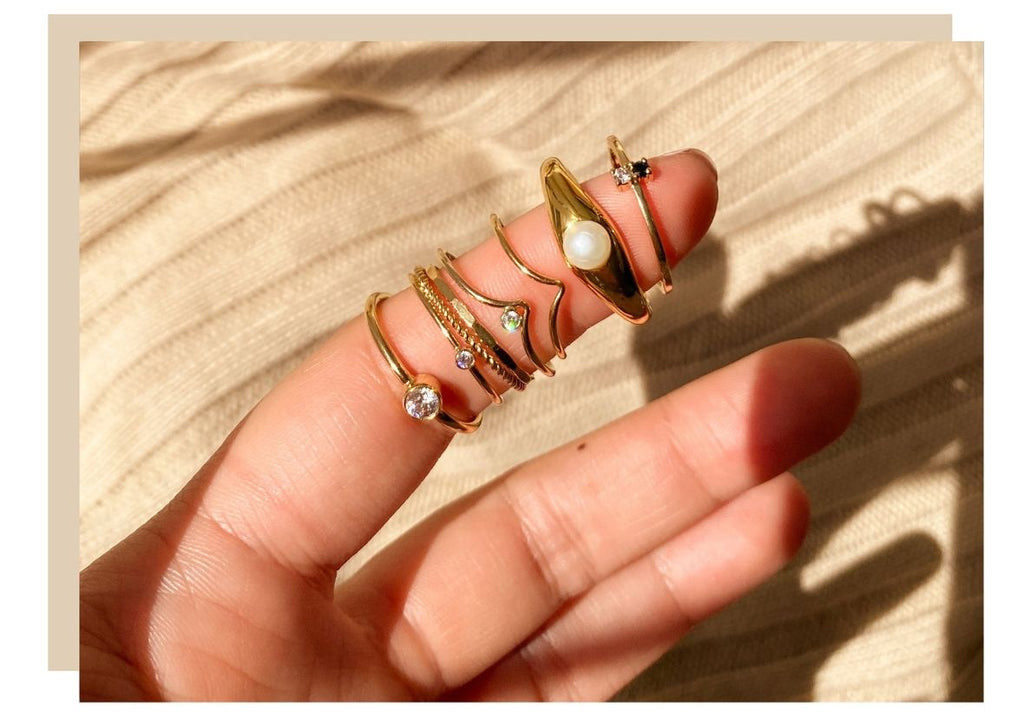 Shop Luna Tales Online, Female Model wearing stacking boho dainty rings moon and star, 4 tips to how to style boho jewellery