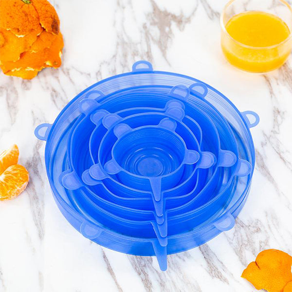 6 reusable food silicone packaging lids(Free shipping on purchase of 4 sets)