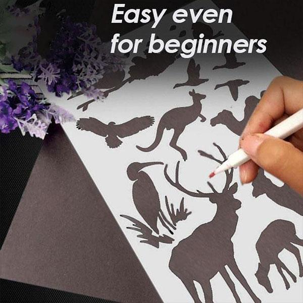 (50% OFF)-Fast Draw Stencil Art Templates( 12 /24 Sheets )