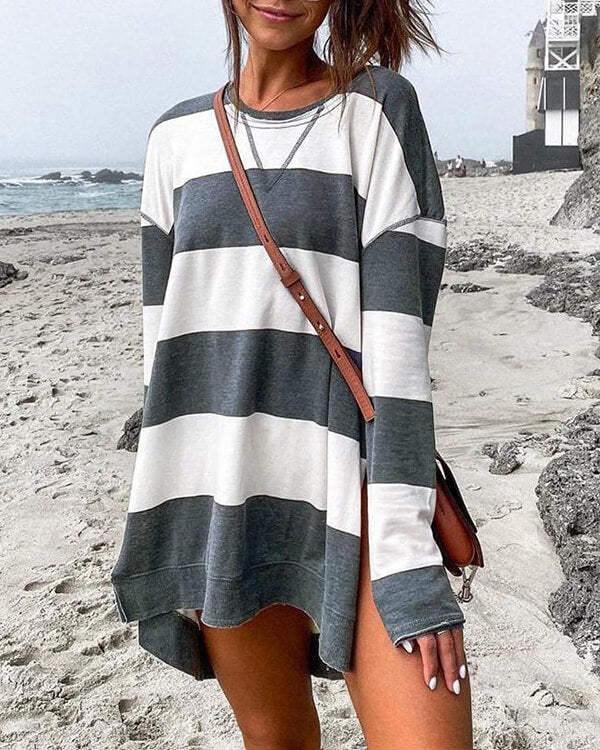 SPELESY STRIPED LONG SLEEVE SIDE SLIT PULLOVER (4 COLORS)