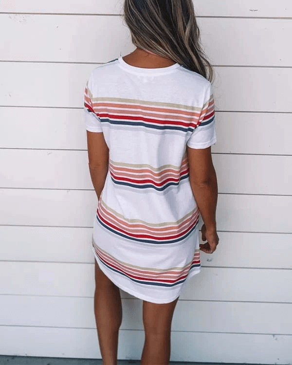 SPELESY Color Block Stripe Dress