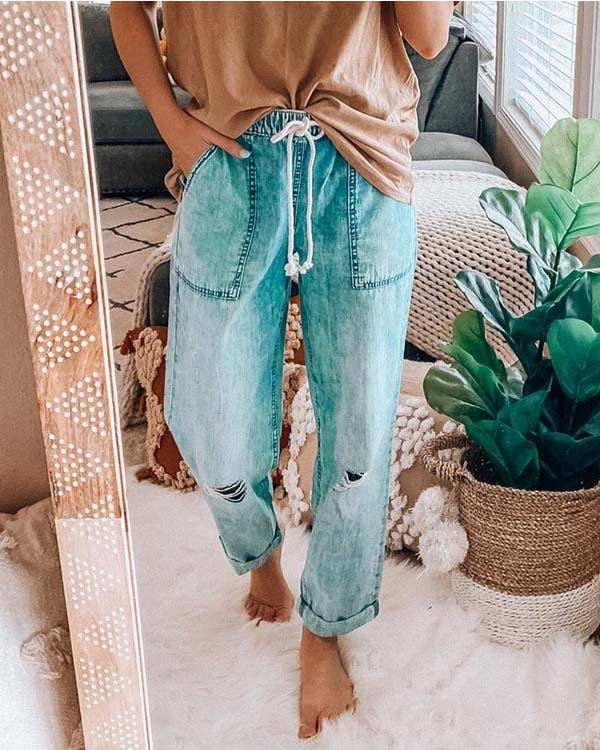 SPELESY DRAWSTRING DISTRESSED COZY JEANS - pinksaviorband