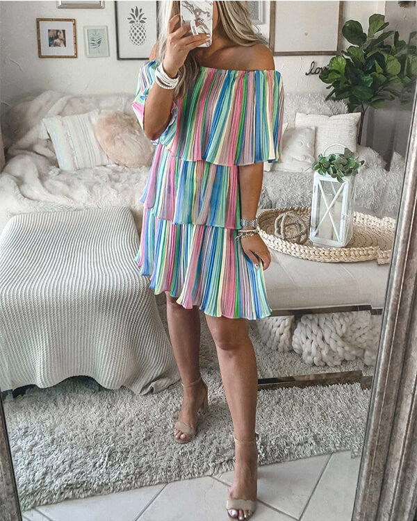 SPELESY OFF THE SHOULDER LAYERED RUFFLES DRESS - pinksaviorband