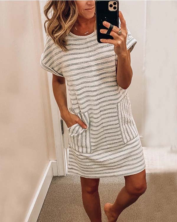 SPELESY CREW NECK STRIPED STITCHING DRESS - pinksaviorband