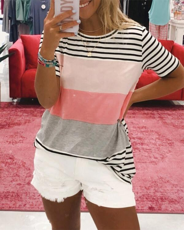 SPELESY Stripe Print Color Block Tee