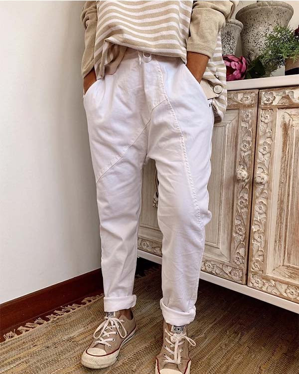 SPELESY PATCHWORK DRAWSTRING BAGGY PANTS (2 COLORS) - pinksaviorband