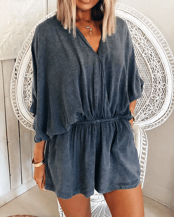 SPELESY V Neck Loose Rompers