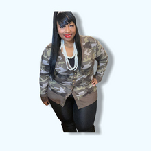 Load image into Gallery viewer, Plus Size Short Camo Cardigan