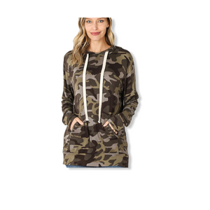 Plus Size Camouflage Hoodie