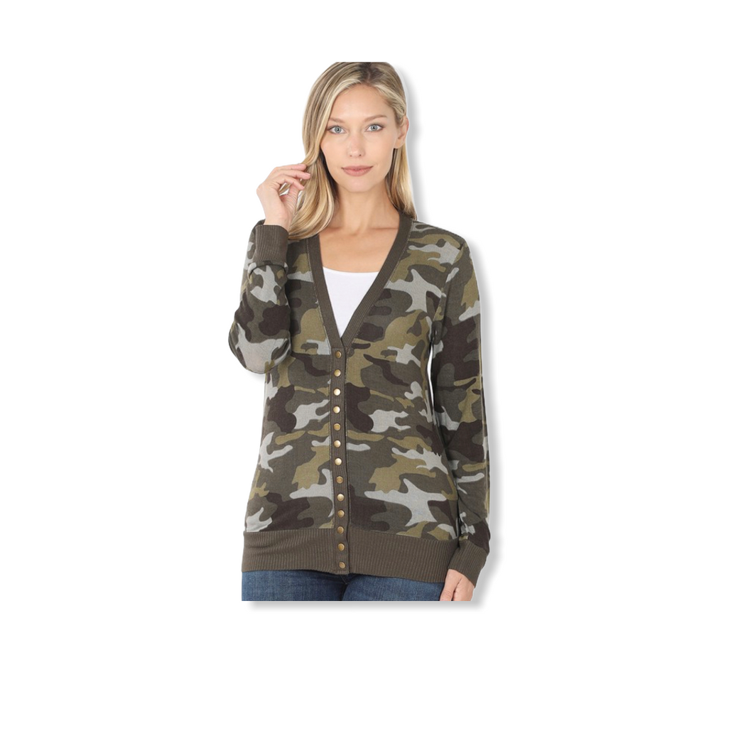 Plus Size Short Camo Cardigan