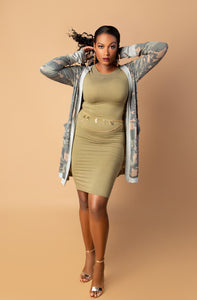 Olive Crew Neck Bodycon Dress