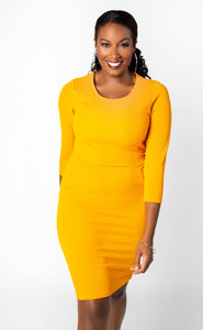 Fall Mustard Bodycon Dress