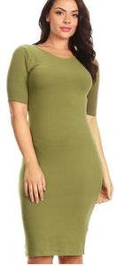 Plus Size Short Sleeve Crew Neck Midi Bodycon Dress