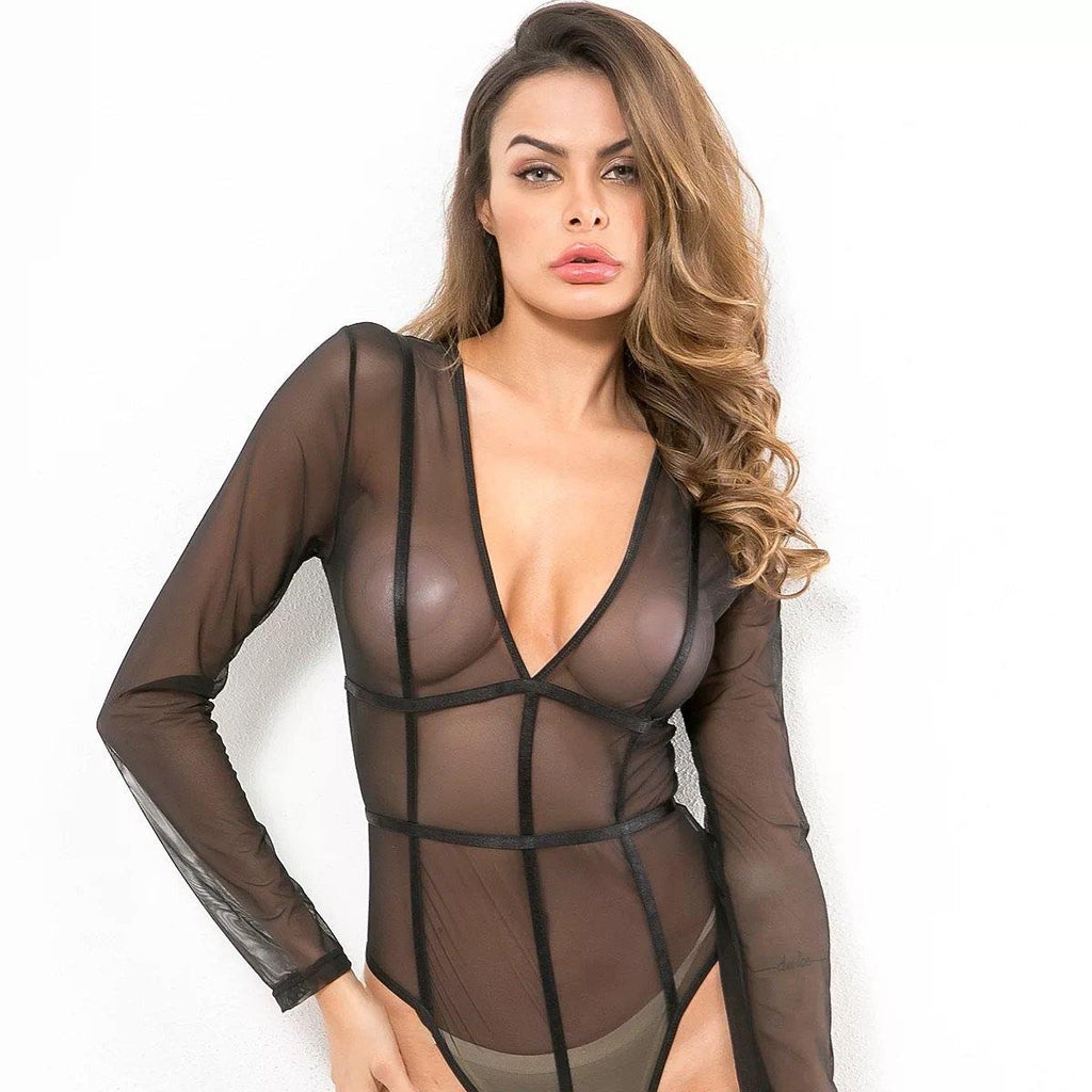 Sheer Patchwork Bodysuit - Bodiedbyclaris