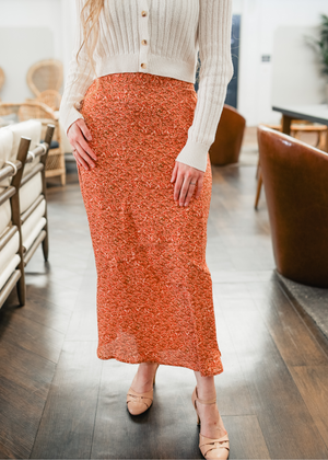 Coral Ditsy Skirt