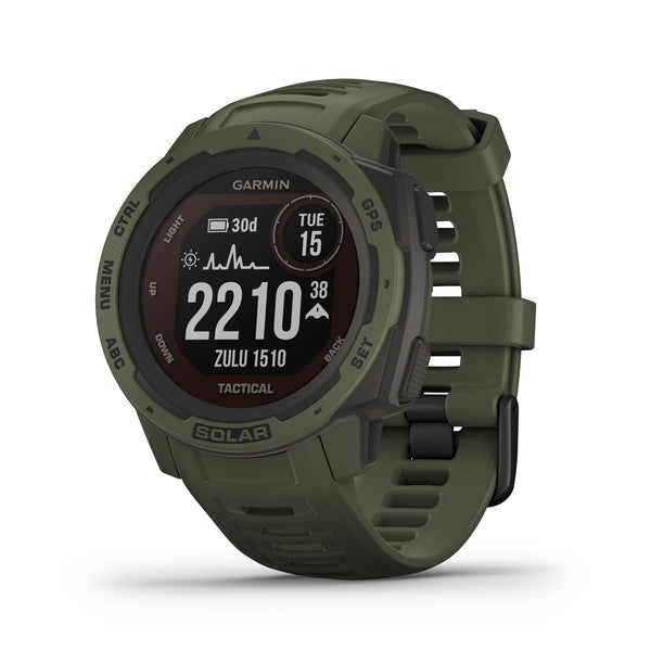 Garmin Instinct Rugged GPS Smartwatch and Fitness Tracker Tactical Edition with Solar Charging - Green