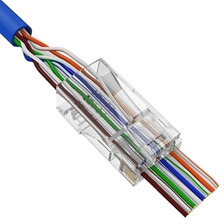 Vertical Cable Cat5e RJ45 Feed-Through Modular Plug - 100-pack