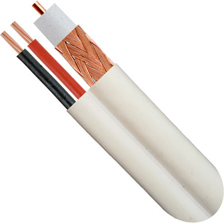 Vertical Cable RG59 Siamese 20-gauge Bare Copper Coaxial Cable 85% Copper Clad Aluminum Braid, 18-gaugue 2-Conductor Bare Copper Power Cable - 500-ft Pull Box -White