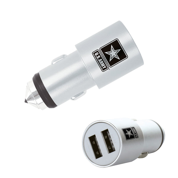 U.S. Army Dual USB Car Charger with Emergency Window Breaker