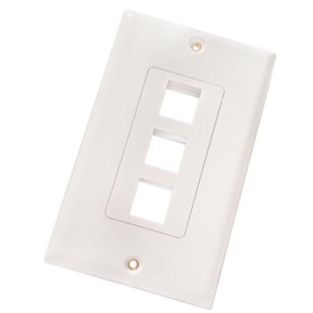 Vertical Cable 3-port Keystone Insert Decora Wall Plate