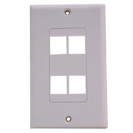 Vertical Cable 4-port Keystone Insert Decora Wall Plate