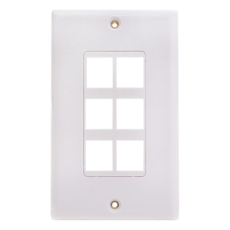 Vertical Cable 6-port Keystone Insert Decora Wall Plate