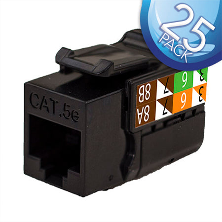 Vertical Cable RJ45/Cat5e 8x8 Data Grade Keystone Insert - 25-pack - Black