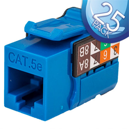 Vertical Cable RJ45/Cat5e 8x8 Data Grade Keystone Insert - 25-pack - Blue