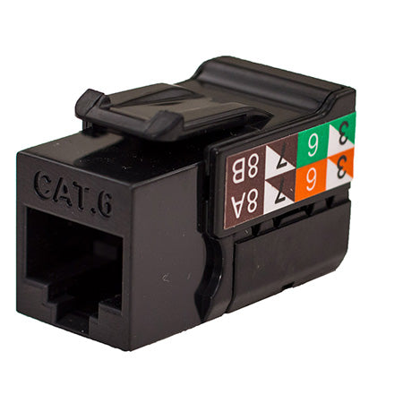 Vertical Cable RJ45/Cat6 8x8 Data Grade Keystone U-Jack Insert - Single - Black