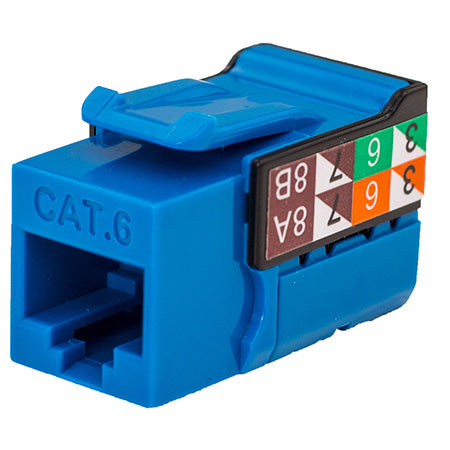 Vertical Cable RJ45/Cat6 8x8 Data Grade Keystone U-Jack Insert - Single - Blue