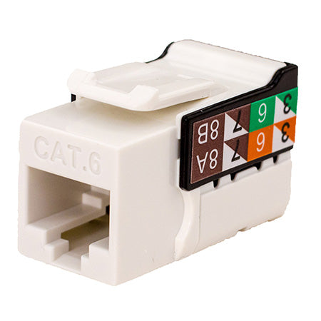 Vertical Cable RJ45/Cat6 8x8 Data Grade Keystone U-Jack Insert - Single - White