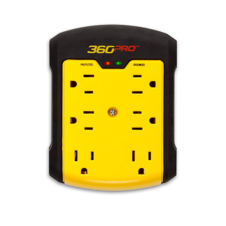 360 Electrical Pro 6 Outlet Surge Protector Wall Tap - Yellow