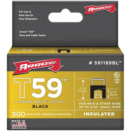 Arrow Fastener T59 Insulated Staples for RG59 Quad and RG6, 7.9-mm (5/16-in) x 7.9-mm (5/16-in) - 300 Pack - Black