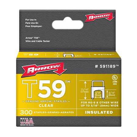 Arrow Fastener Clear T59 Insulated Staples for RG59 Quad and RG6, 7.9-mm (5/16-in) x 7.9-mm (5/16-in) - 300 Pack