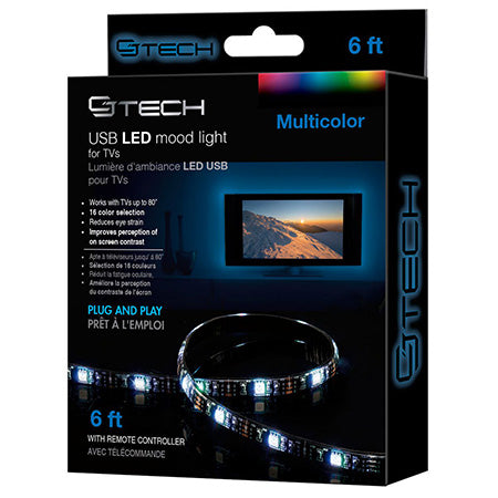 CJ Tech 1.8-meter (6-ft) USB LED Mood Light Strip for TVs - White - Open Box