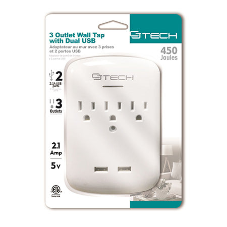 CJ Tech 3 Outlet Dual USB Wall Tap with 450-joules Surge Protection - White