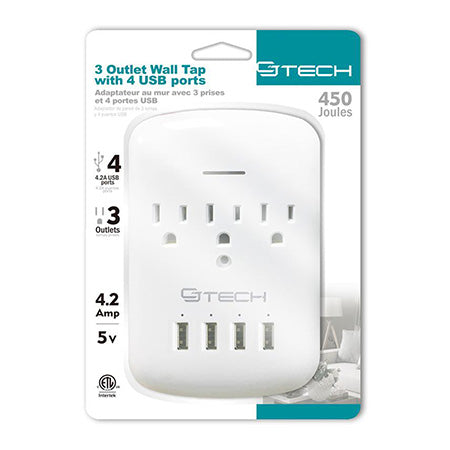 CJ Tech 3 Outlet Wall Tap with 4 x USB Ports and 450-joules Surge Protection - White