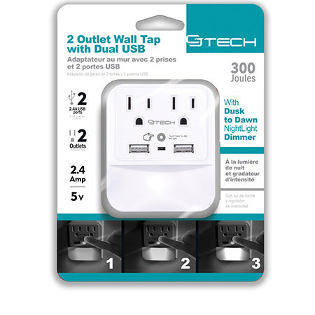 CJ Tech 2 Outlet and 2 x 2.4-amp USB Wall Tap with Dimmable Nightlight and 300-joules Surge Protection - White