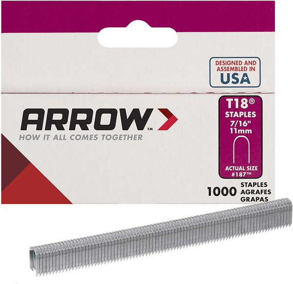 Arrow 11.1-mm (7/16-in) T-18 Staples - 1000 Pack