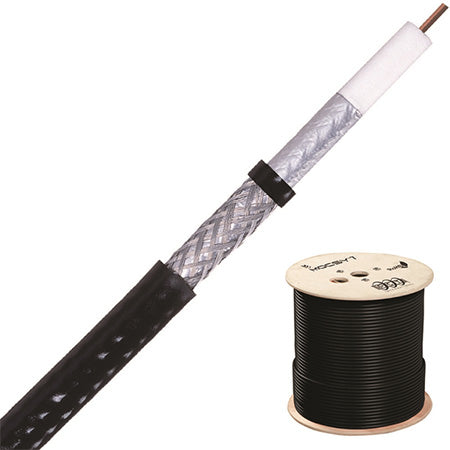 PCT Riser Rated FT4 Bi-Shielded RG6 60% Aluminum Braid - 1000-ft Spool – Black