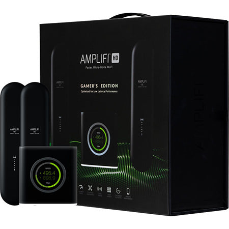 AmpliFi Whole Home Mesh WiFi System with Router and Two Mesh Points Gamer Edition with Low Latency Gaming Performance Boost
